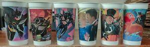 Batman Returns McDonald's Collector Cups Lot Complete Set of 6 Coca Cola 1992