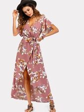 e334b10013 New listingSHEIN-NEW Dusty Pink Size 8-10 Tie Waist Wrap Front Maxi  Waterfall Summer Dress