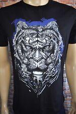 New Just Cavalli Men`sBlack & Blue Cotton Short Sleeve Tiger Print T-Shirt Sz L