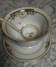 GORGEOUS Nippon Porcelain Mayonnaise Plate , Bowl & Ladle , Good Cond. Blue Mark