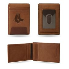 Boston Red Sox Premium Brown Leather Money Clip Front Pocket Wallet Baseball