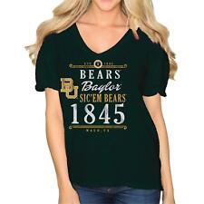 Original Retro Brand NCAA Baylor Bears Women's Slub V Neck Tee X-Large Forest