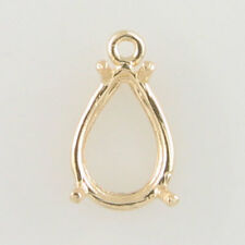 PRENOTCHED PEAR DANGLE SETTING 12x8MM IN YELLOW GOLD CD128-10KY