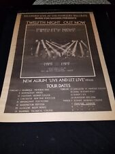 Twelfth Night Live And Let Live Rare Original UK Tour Promo Poster Ad Framed!