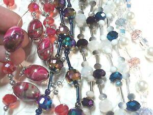 Necklace, Aurora borealis crystal, dark iridescent, sea glass, pink swirl beads