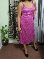 Women's Soft Satin Dress Girls Ladies Fuschia Printed Floral Cleavage Maxi Dress