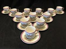 Copeland Spode Herring Hunt Set of 12 Cup and Saucers Rare Red Rim