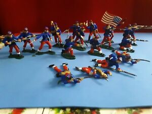 Marx 1/32 14th Brooklyn N.y. Zuoaves  Civil War Plastic Painted Soldiers