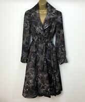 Diane Von Furstenberg Long Trench Coat UK 10 Brown Black Floral Pockets Collar
