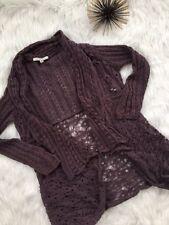 CAbi Sweater S Eggplant Waterfall Cardigan Jacket Crocheted Ladies #719 G7