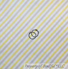 BonEful Fabric FQ Cotton Quilt Yellow Tan Gray White Stripe Calico S Baby Unisex