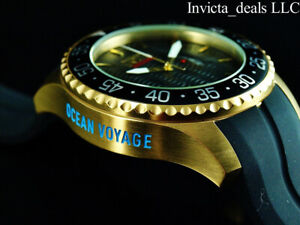 Invicta Men's 50mm OCEAN VOYAGE Limited Edition BLACK Wave Dial Gold Tone Watch