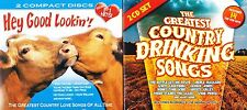 Lot of 2 Country 2 CD Sets 40 Tracks Drinking Songs & Hey Good Lookin Greatest