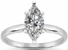 14K White Gold Ring F Si1 #164 0.57 ct Marquise Cut Brilliant Diamond Solitaire