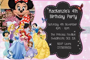 Personalised Photo Disney Princesses Birthday Party Invites inc envelopes D8