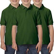 3 Pack Gildan Dryblend Childrens School Uniform Polo Shirts Boys Girls Shirt Top