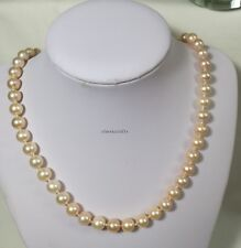Genuine silver 8-9mm circle 4A freshwater pearls necklace L45cm free earing PINK