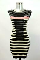 TED BAKER LONDON 1 Striped Ruched Knit Sweater Dress Sleeveless Modern XS 0 2