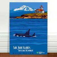 "Vintage Travel Poster Art CANVAS PRINT 8x10"" San Juan Islands Whales"