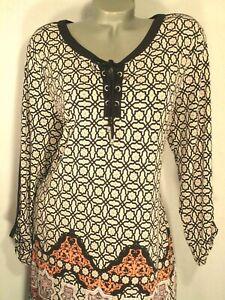 Style&Co~Print Tunic Dress~Colorblock~Lace Up~Shift~A-Line~Women Plus XL 16/18