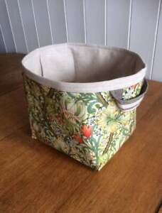 William Morris Golden Lily Print Small Storage Basket Oilcloth