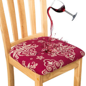 Waterproof Chair Seat Covers Printed Dining Room Chair Covers with Elastic Band