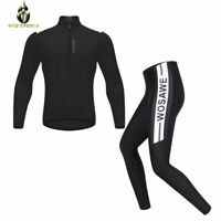 Mens Cycling Suit Long Sleeve Cycling Jersey Tops Cycling Pants MTB Half Zipper