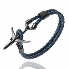 Stainless Steel Pilot Bracelet Airplane Leather Rope Black Color Plane Bracelets