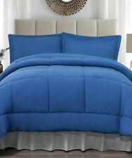 Cobalt Blue King Size Jersey Comforter & Pillow Sham Bed 3-Pc Set