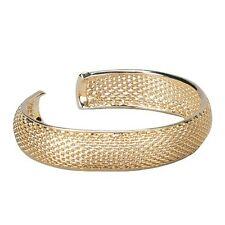 Yellow Gold-Tone Mesh Open Clasp Teens Womens Mens Bangle Bracelet 57mm