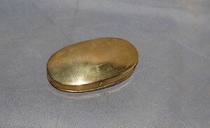 Antique Cityscape Engraved Dutch Brass Oval Tobacco Snuff Box City of Zwot