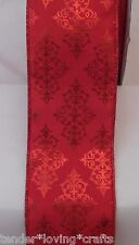 """5 YARDS SATIN RED WIRE RIBBON W/RED EMBOSSED DESIGN & MATELLIC EDGE 2 1/2"""""""