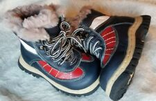 Baby boy genuine leather sheepskin fur shirling Boot red/blue/white sz 28/11 new