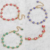 Women Evil Eye Enamel Chain Bracelet Cuff Lucky Amulet Hamsa Charm Jewelry Prett