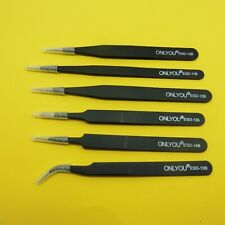 ONLYOU ESD-B Anti-Static Tweezers Stainless Steel Repair Tool Precise
