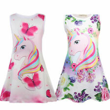 Kids Girls Unicorn Dress Summer Sleeveless Party Swing Dresses Clothes Age 4-9Y