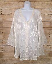 Victoria's Secret Vintage Gold Label White Floral Night Shirt Sleepwear Small