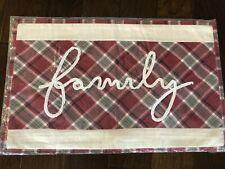 Pottery Barn Family Plaid Pillow Cover Christmas New Decor Red Script Lumbar