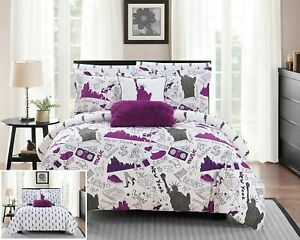 Chic Home Liberty 7 Piece Reversible Comforter New York Inspired Printed Design