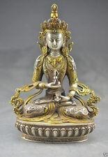 Tibetan Buddhism Silver Bodhisattva Guan Yin Kwan yin Buddha Statue