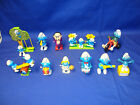 Smurfs WHITE KNOB 1980\'s Lot Plastic w Push Up Toy and Big Wheel FREE SHIPPING