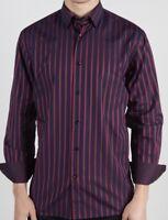 LUCHIANO VISCONTI BLACK Long Sleeve Red/Navy Stripe Men's Shirt- NWT #3790