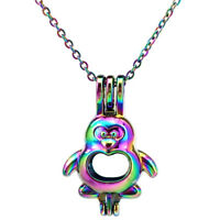 """C599 Rainbow Color Penguin Pearl Cage Necklace 18"""""""