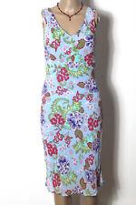 NAF NAF Kleid Gr. 36 lang hell-blau/bunt ärmellos Chiffon Blumen Kleid