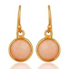 18K Gold Plated 925 Sterling Silver Pink Opal Gemstone Jewelry Dangle Earrings