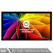 QualGear 120 Inch Fixed Frame Projector Screen, High Reflective Silver, 2.5 Gain