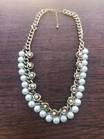 """Vintage Rare Gold Tone Faux Pearl & Flowers Two Row Choker Necklace 18"""""""