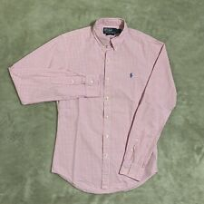 Polo Ralph Lauren Guinga Bebé Rosa/Blanco ajustados LS Camisa (S)