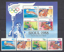 Olympiade 1988, Olympic Games - Neuseeland, New Zealand- 1033-1036, Bl.16 ** MNH