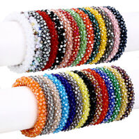 Nepal Crystal Glass Seed Bead Bracelet Crochet Handmade Bangle Jewelry Gifts NEW